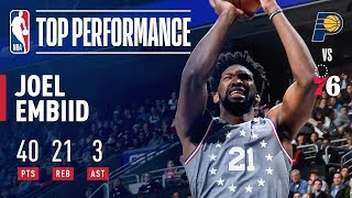 Joel Embiid Drops 40 Points and Grabs 21 Rebounds VS Indiana | December 14, 2018