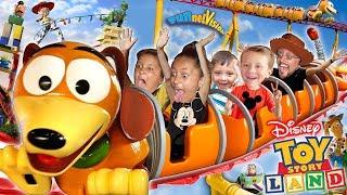 TOY STORY LAND Slinky Dog Dash Roller Coaster! Disney