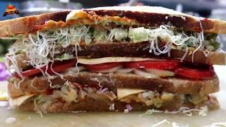 300/- BIG FOUR LAYER Melting Cheese Sandwich | BAAHUBALLI GRILLED SANDWICH Recipe