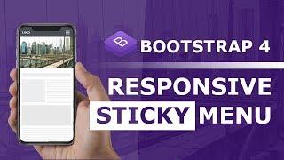 Bootstrap 4 Responsive Navigation Bar   Sticky Navbar Html CSS and jQuery