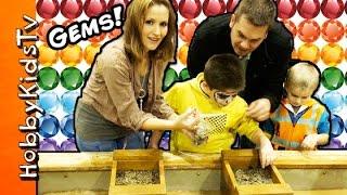 Rock Mining Surprise Gems! HobbyPig Family Fun with HobbyMom by HobbyKidsTV