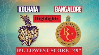 IPL 2017 Highlights, KKR Vs RCB: Lowest Ever Score, Kolkata Win By 82 Runs