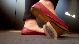 Trashed / Well Worn Pink Leather Style Dolly Flats FOR SALE
