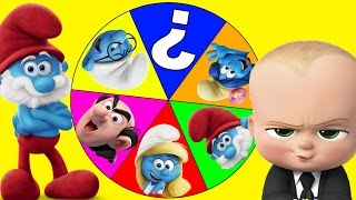 Boss Baby Plays The Smurfs Movie Spin the Wheel Game Part 9 - Trolls Movie Bergens | Ellie Sparkles
