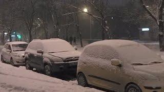 Snow in Darnitsa, Kiev, Ukraine. Снег на Дарнице, Вечером в Киеве, Украина. СТРИМ
