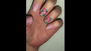 How to do Easy Pink rose Nails | Black and White stripes Nail Art Design Tutorial