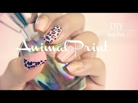 Nails Diseño de uñas fácil Pink Animal Print Uñas Rosa Leopardo DIY MaryTó Chocolate
