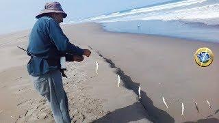 Pescador usa Lombriz y  línea de mano con 12 anzuelos, un método de #pesca %100 efectivo