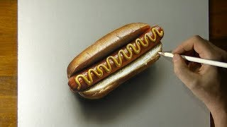 Drawing Hot Dog - How to Draw 3D Art