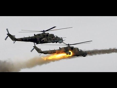Impresionante ataque de helicópteros rusos Mi 24 contra posiciones del ISIS. Hama Siria