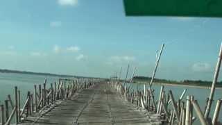 Amazing Bamboo Bridge to Koh Paen / Koh Sotin (Island) - Kampong Cham, Cambodia