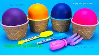 Learn Colors with Play Doh Ice Cream Cups Surprise Eggs Disney Frozen Chupa Chups Minions Toys