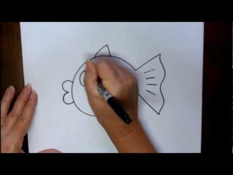 How to Draw a Cartoon Fish Easy Kids Art Lesson Tutorial