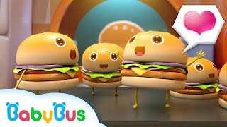 Five Naughty Hamburgers Are Jumping | Angry Panda Chef | Play in Kitchen | BabyBus