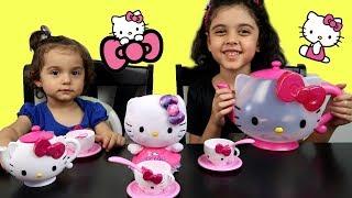 ألعاب بنات حفلة الشاي هالو كيتي و تحدي الفواكه! Hello kitty tea set