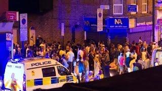 Van hits crowd near mosque