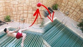 لصقت المسبح كامل باللصق | دبل كيك في المسبح !!