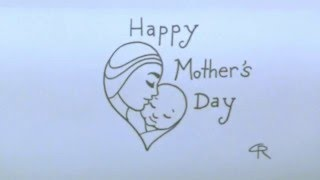Happy Mother's Day Heart, Mommy, & Baby -- iCanHazDraw!