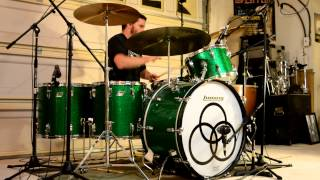 Led Zeppelin - Rock and Roll (Studio) Multi-Cam Drum Cover w/o Music - Vintage Ludwig Green Sparkle