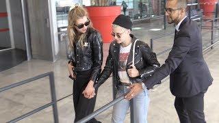 EXCLUSIVE - Kristen Stewart and girlfriend Stella Maxwell hold hands at Paris CDG airport