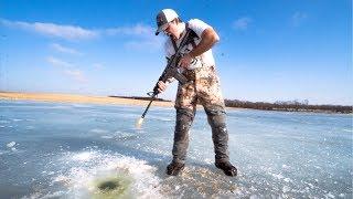 IDIOTS take GUNS Ice Fishing!!! (BAD IDEA)