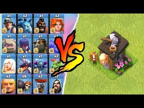 ALL TROOPS vs GIANT BUILDER HUT CLASH OF CLANS ALL UNITS vs BUILDER HUT COC