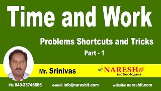 Time and Work Problems Shortcuts and Tricks Part-1 | CRT Training
