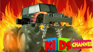 monster trucks   3D stunts videos   vehicles for kids