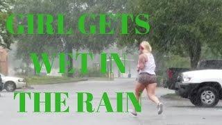 GIRL GETS WET IN THE RAIN 4K
