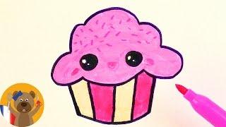 Dessiner un adorableCupcake rose pour une carte d'anniversaire ou un invitation
