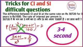 Maths Shortcuts || Difference b/w CI and SI in 3 years || 3-4 सेकण्ड में