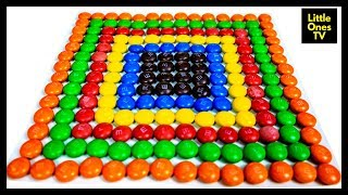 Learn Colours with Colourful Square Chocolate M&Ms for Kids Children Fun