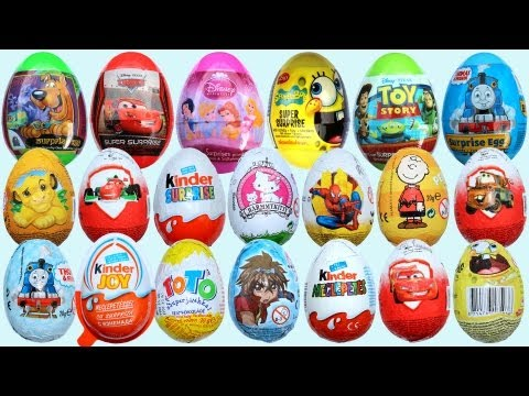 20 Surprise Eggs Kinder Surprise Cars 2 Thomas Spongebob Disney Pixar
