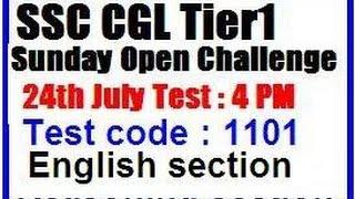 ssc cgl tier1 sunday open challenge test 1101 English section by Neeru madam