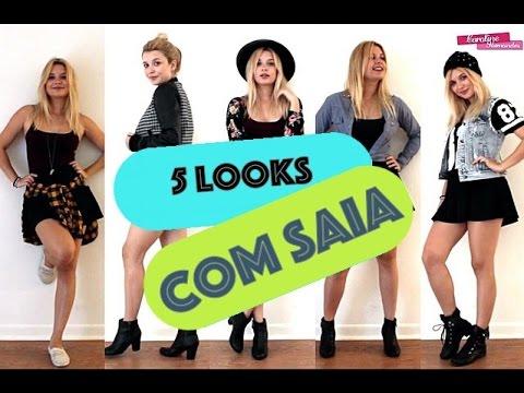 Estilo COMO USAR 5 LOOKS COM SAIA RODADA HOW TO WEAR THE SAME SKIRT IN 5 LOOKS
