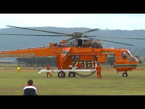 Sikorsky Erickson Air Crane Incredible Hulk Start up & Take Off