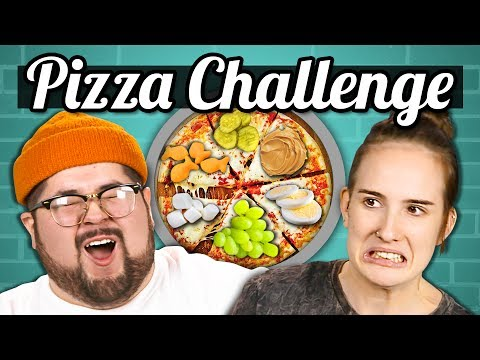 PIZZA CHALLENGE Gross Toppings College Kids Vs. Food