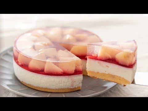桃のレアチーズケーキの� �り方 No Bake Peach Cheesecake� �HidaMari Cooking