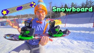 Blippi Learns How to Snowboard   Winter Outdoor Activities for Children