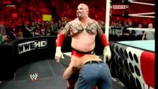 Lord Tensai vs John Cena Extreme Rules Match - WWE RAW 04/16/12 - (HQ)