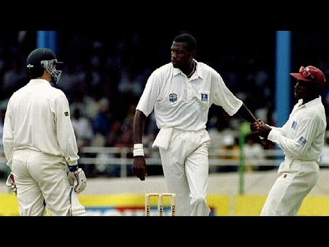 Famous cricket fight CURTLY AMBROSE vs STEVE WAUGH Trinidad 1995 3rd test