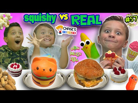 Chase s Corner SQUISHY FOOD vs REAL FOOD Challenge 57 DOH MUCH FUN