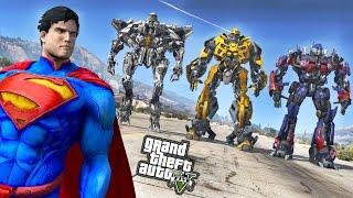 SUPERMAN VS TRANSFORMERS (OPTIMUS PRIME, BUMBLEBEE, STARSCREAM) - GTA 5 MOD