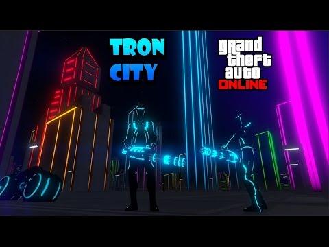 GTA 5 ONLINE LIANDOLA EN TRON CITY / CIUDAD DE TRON, MOTO DE TRON, Y MINIGUN GTA 5 MODS pc