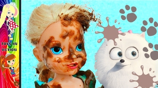 Anna and Elsa Toddlers Messy Mud Puddles! Muddy Puppy! New Fun Barbie Frozen Videos Toys In Action