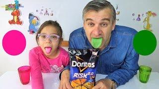 DORİTOS RİSK 2.0 (Dilimiz MASMAVİ yerine YEMYEŞİL ve PESPEMBE oldu) - Eğlenceli Çocuk Videosu