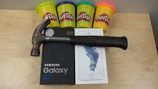 Samsung Galaxy S7 vs. iPhone 6S Play-Doh Hammer Smash Test! Will They Survive?