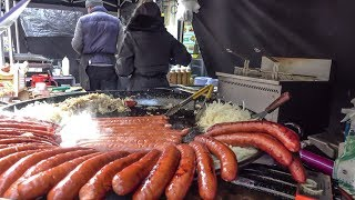 "Huge Fried Sausages from Poland ""Kielbasa"". London Street Food"