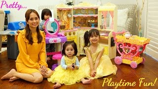Toy Channel: Little Girls' Toys. Disney Princess Belle Kitchen Playset, Teapot Playset and Vanity