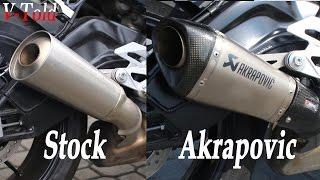 BMW S 1000 R Akrapovic vs stock exhaust sound